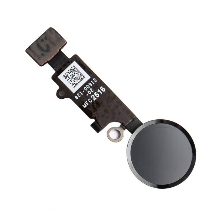 Pour Apple iPhone 8 Plus - Ensemble bouton AAA + Home avec câble flexible noir