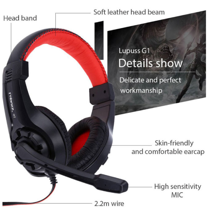 Lupuss G1 Headphones with Microphone Headphones Stereo Gaming PlayStation 4 Blue