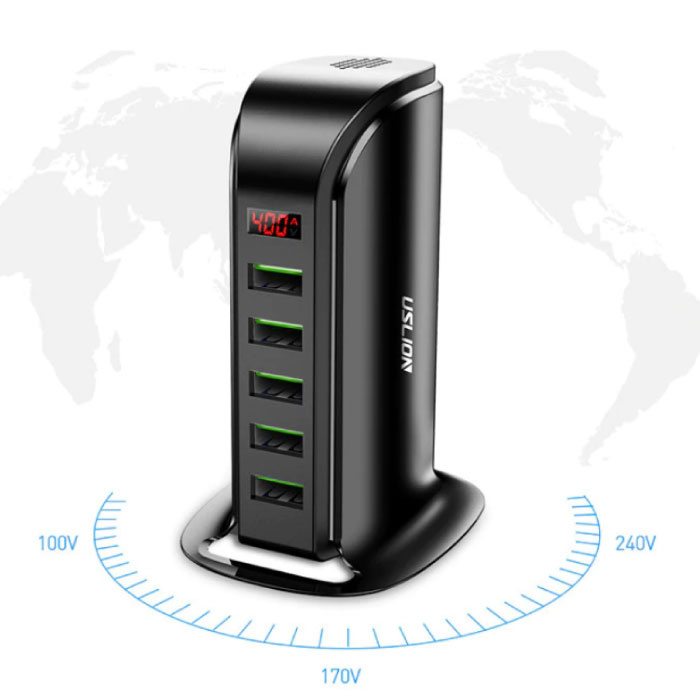 USLION 5-Port USB Charging Station LED Display Wall Charger Home Charger Plug Charger Adapter
