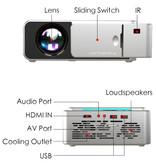 Alston T6 LED Projector - Mini Beamer Home Media Speler Zilver