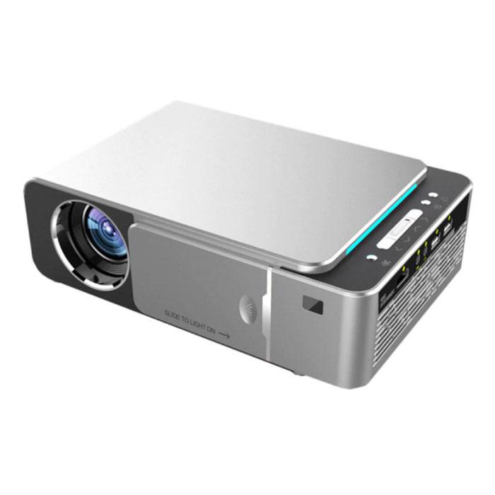 Proyector LED T6 - Mini Beamer Home Media Player Plateado