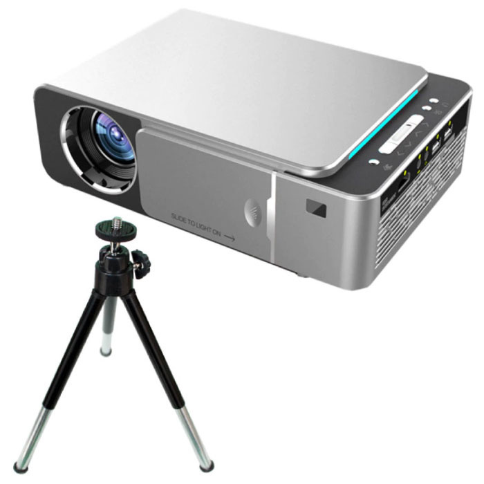 T6 LED Projector & Tripod Tripod - Mini Beamer Home Media Player Silver