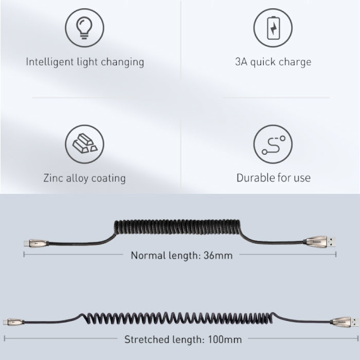 Baseus Lightning USB Curled Spiral Charging Cable Data Cable 1.2 Meter Charger iPhone / iPad / iPod Black - Copy