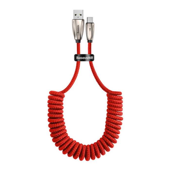 USB-C Curled Spiral Charging Cable Data Cable 1 Meter Charger Red