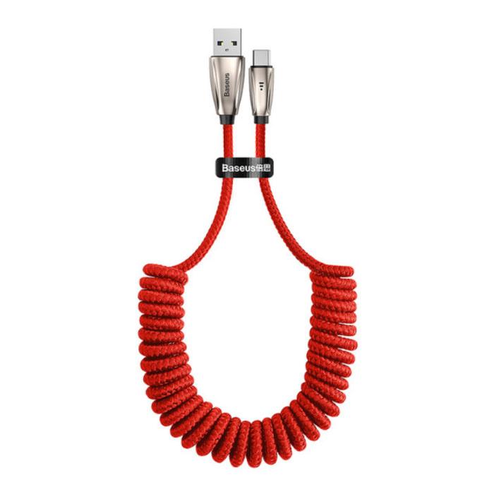 USB-C Curled Spiral Ladekabel Datenkabel 1 Meter Ladegerät Rot