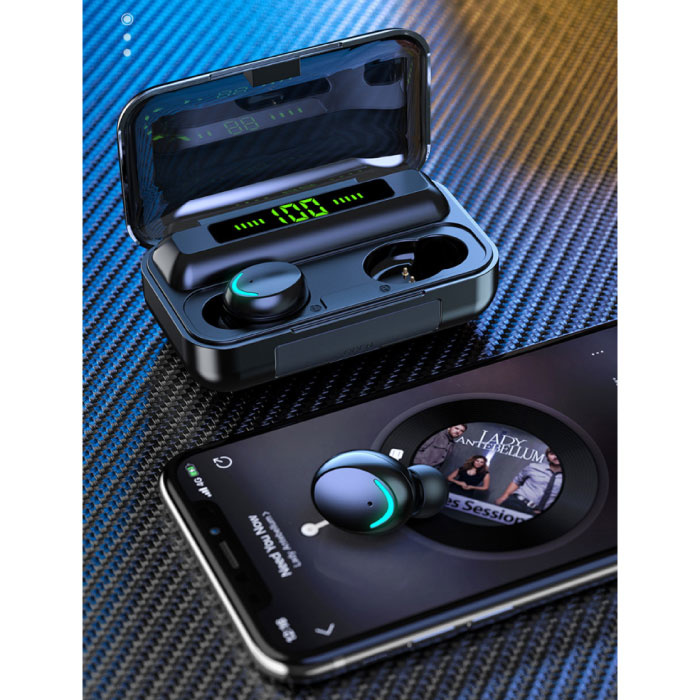 Stuff Certified® IPX7 TWS Wireless Smart Touch Control Earphones 2200mAh Bluetooth 5.0 Air Wireless Pods Earphones Earbuds Black