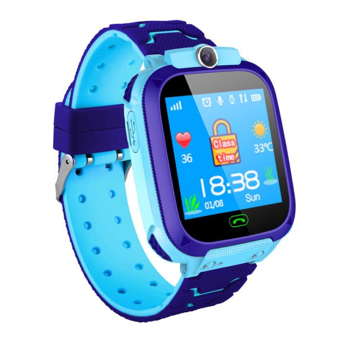 Smartwatch voor Kinderen met GPS Tracker Smartband Smartphone Horloge IPS iOS Android Blauw