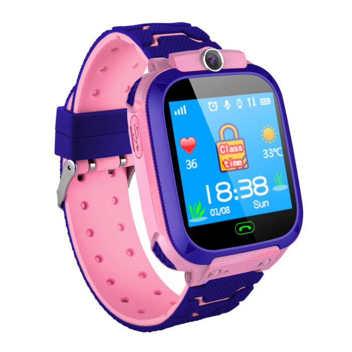 Smartwatch pour enfants avec GPS Tracker Smartband Smartphone Watch IPS iOS Android Rose