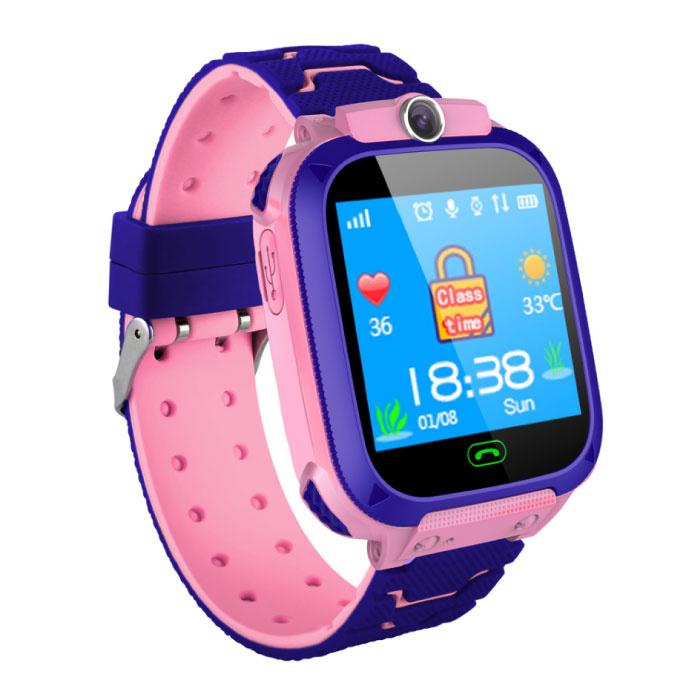 SmartWatch pour les enfants avec GPS Tracker intelligent Band Smartphone Android montre IPS iOS Rose