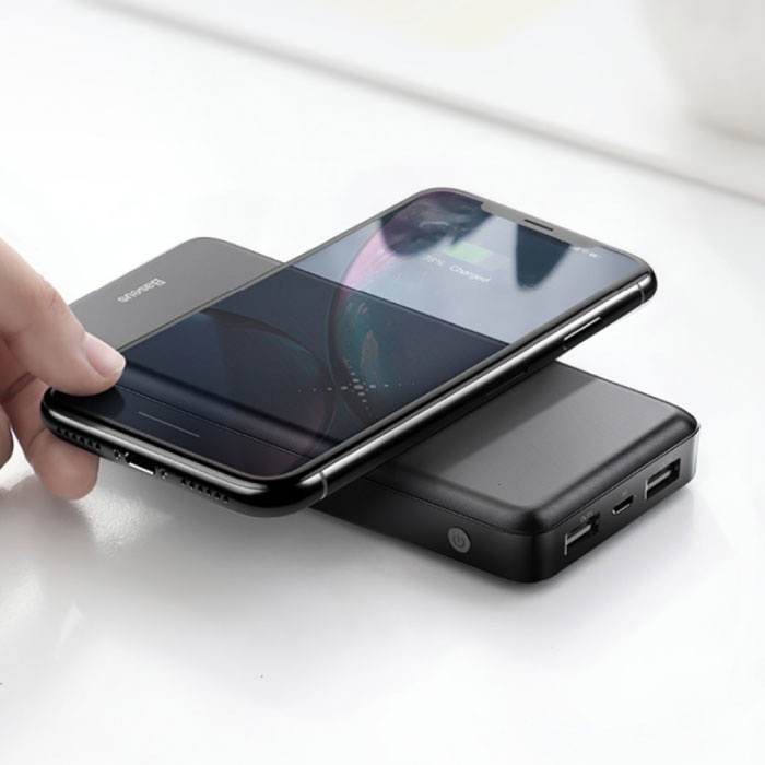 Baseus 10.000mAh Qi chargeur sans fil + Banque d'alimentation Chargeur de batterie d'urgence Pad sans fil Noir