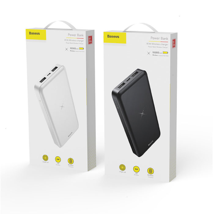 Baseus 10.000mAh Qi chargeur sans fil + Power Bank Chargeur sans fil de batterie de secours Pad blanc
