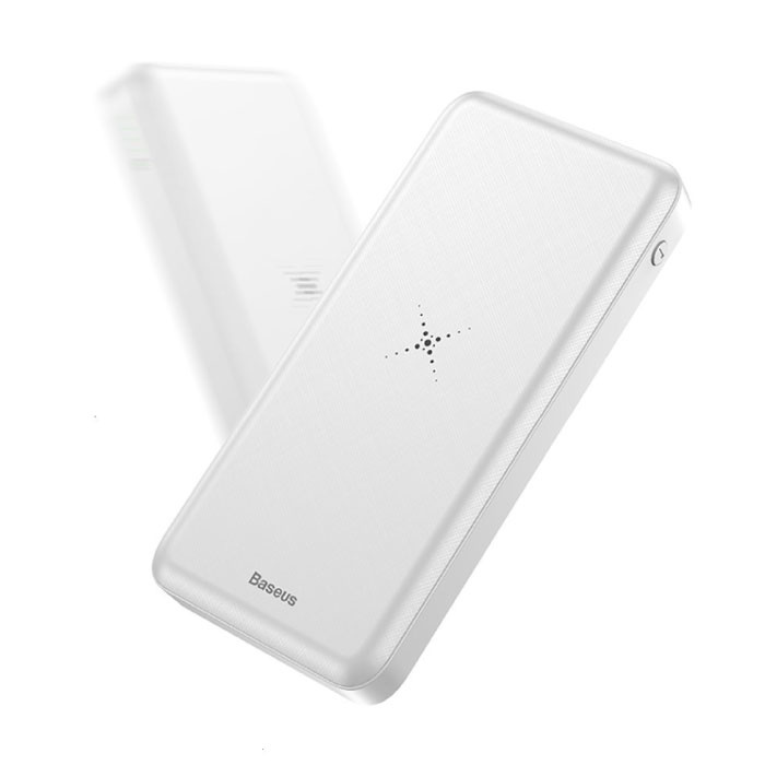 Baseus 10.000mAh Draadloze Qi Oplader + Powerbank Noodaccu Wireless Charger Pad Wit