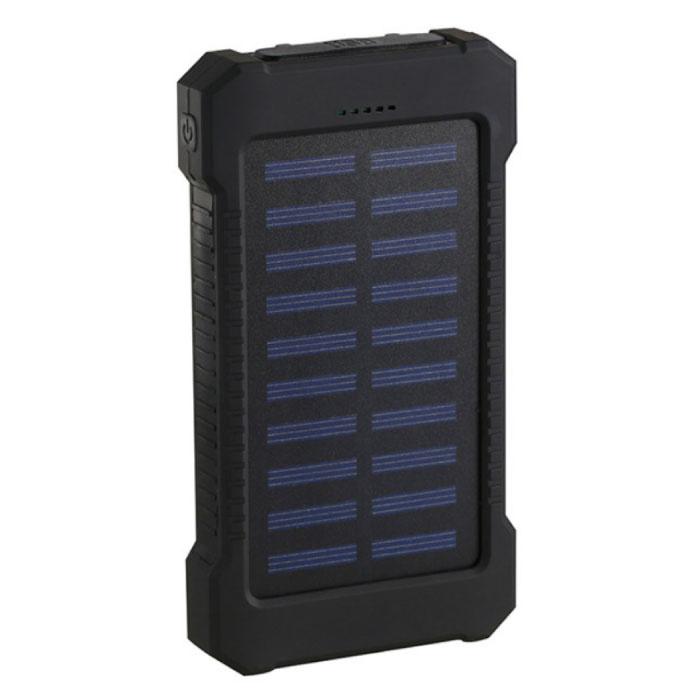 30.000mAh Chargeur solaire d'alimentation externe Banque d'urgence Batterie solaire Chargeur de batterie Noir