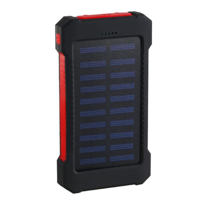 Solar Charger 30.000mAh Externe Powerbank Zonnepaneel Noodaccu Batterij Oplader Rood