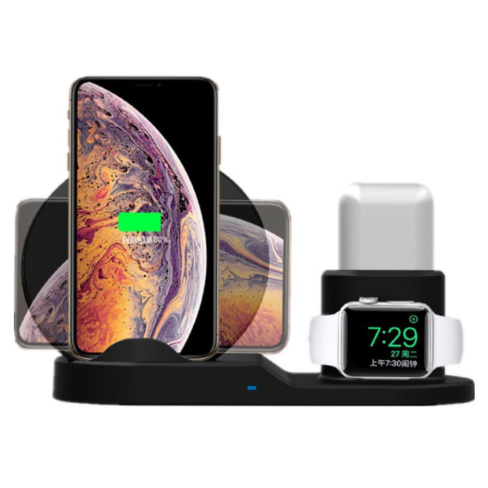 3 in 1 Draadloze Oplader voor Apple iPhone / iWatch / AirPods -  Oplaadstation Charging Dock 18W Wireless Pad Zwart