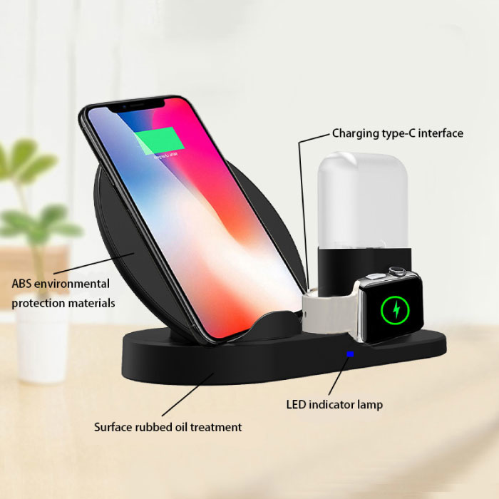Stuff Certified® 3 in 1 Draadloze Oplader voor Apple iPhone / iWatch / AirPods -  Oplaadstation Charging Dock 18W Wireless Pad Zwart