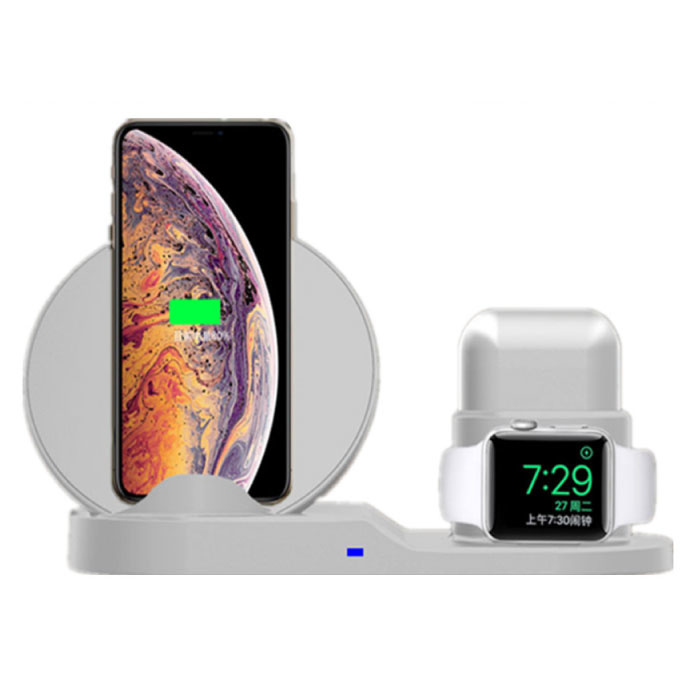 3 in 1 Draadloze Oplader voor Apple iPhone / iWatch / AirPods -  Oplaadstation Charging Dock 18W Wireless Pad Wit