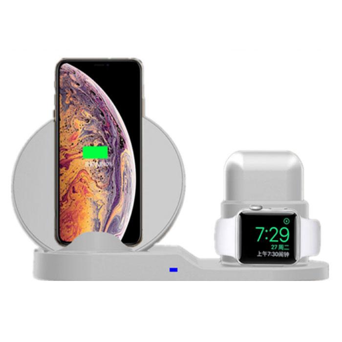 Chargeur sans fil 3 en 1 pour Apple iPhone / iWatch / AirPods - Station de charge Dock de chargement 18W Pad sans fil blanc