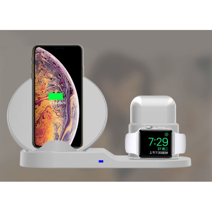 Stuff Certified® 3 in 1 Draadloze Oplader voor Apple iPhone / iWatch / AirPods -  Oplaadstation Charging Dock 18W Wireless Pad Wit