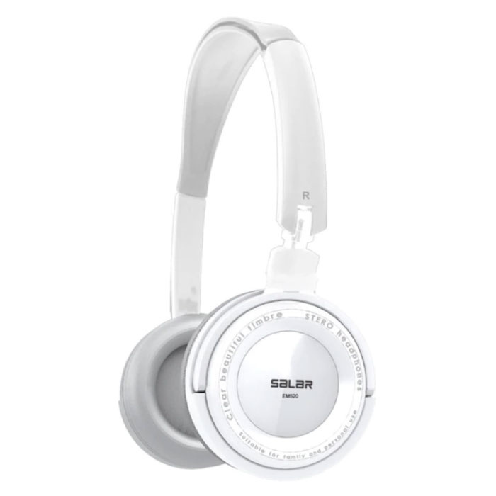 EM520 Stereo Foldable Headphones HiFi Headphones Gaming White