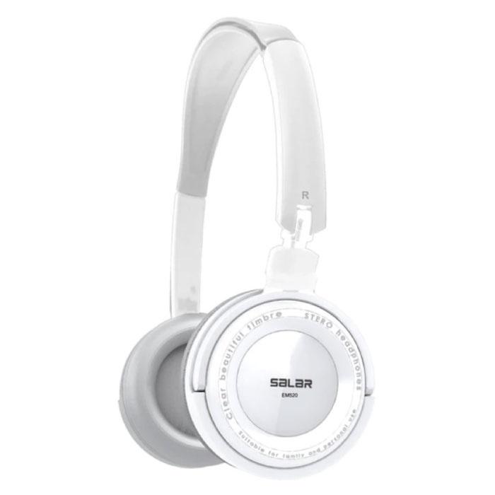 EM520 Stereo Opvouwbare Koptelefoon HiFi Headphones Gaming Wit