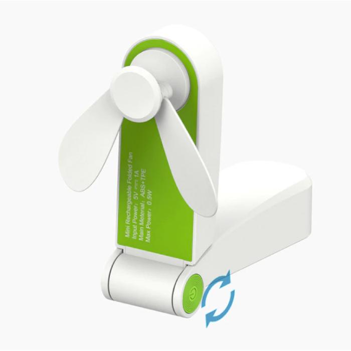 C28 Oplaadbare Draagbare Ventilator - Handventilator Op Batterij Groen