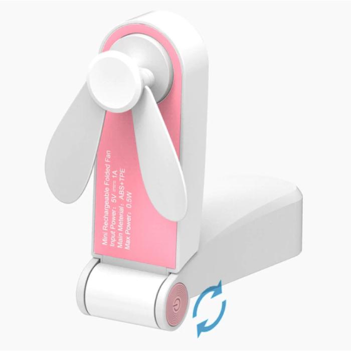 Ventilateur portable rechargeable C28 - Ventilateur à main à piles rose