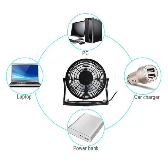 Stuff Certified® Ventilateur portable rechargeable - Ventilateur à main 2500 tr / min noir
