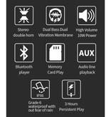 T & G TG-117 - Barre de son sans fil avec haut-parleur sans fil Bluetooth 4.2 - Noir - Copy