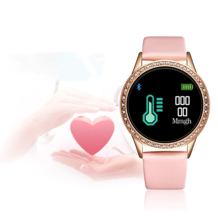 Lige Fashion Sports Smartwatch Fitness Sport Activity Tracker Smartphone Horloge iOS Android - Roze