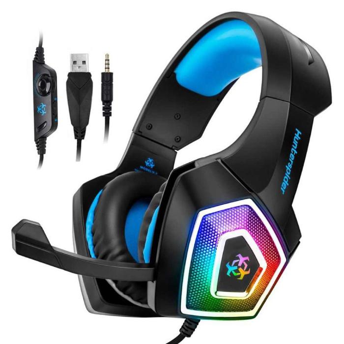 V1 Gaming Headset Stereo-Kopfhörer Kopfhörer mit Mikrofon für PlayStation 4 / PC / Xbox Blue