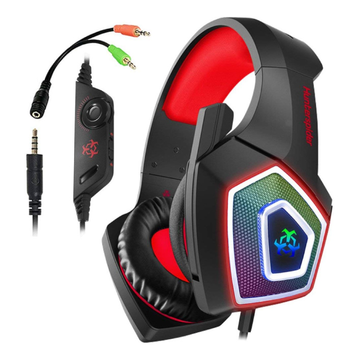 V1 Gaming Headset Casque stéréo avec microphone casque PlayStation 4 / PC / Xbox Rouge