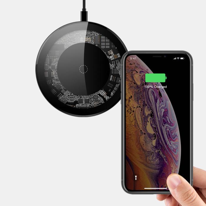 15W Chargeur universel sans fil Qi de charge sans fil Pad Noir