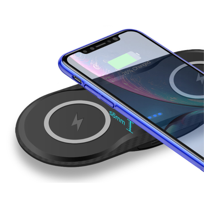 Stuff Certified® 2 in 1 Qi Universele Draadloze Oplader 10W Wireless Charging Pad Zwart