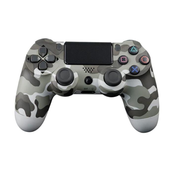 Manette de jeu pour PlayStation 4 - Manette de jeu Bluetooth PS4 avec camouflage gris vibrant