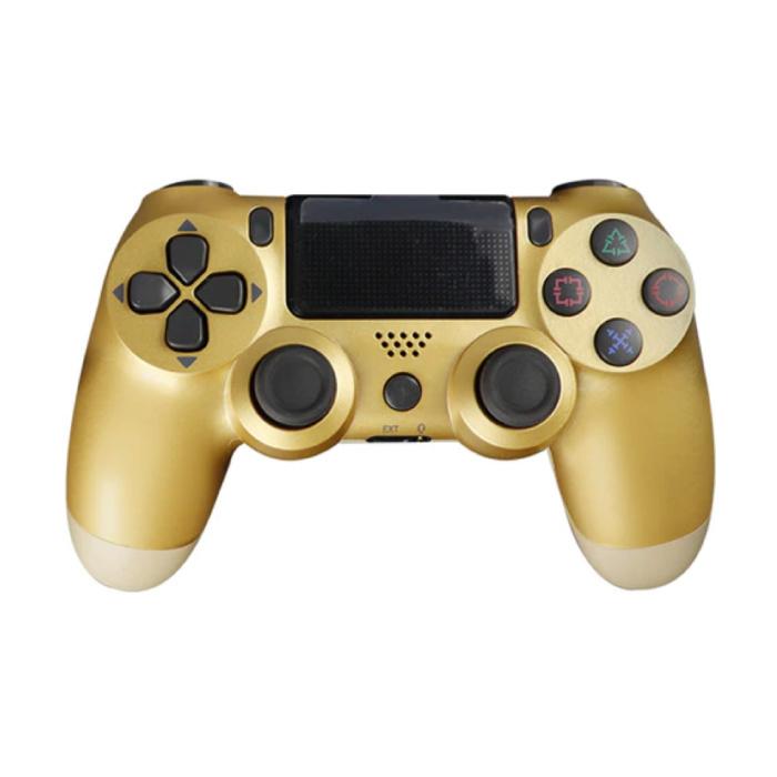 Manette de jeu pour PlayStation 4 - Manette de jeu Bluetooth PS4 avec Vibration Gold
