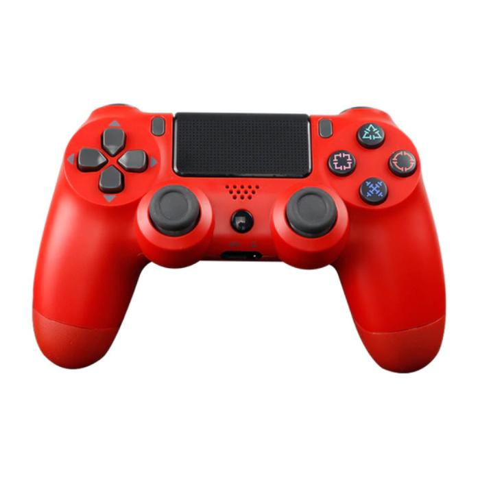 Manette de jeu pour PlayStation 4 - Manette de jeu Bluetooth PS4 avec vibration rouge