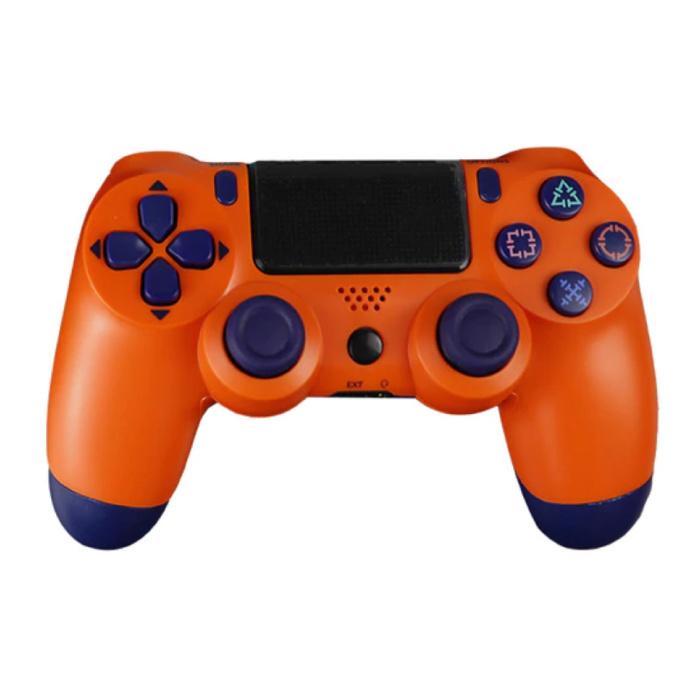 Manette de jeu pour PlayStation 4 - Manette de jeu Bluetooth PS4 avec vibration orange