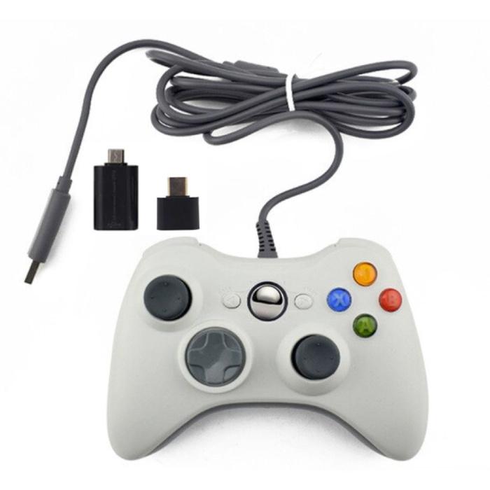 Gaming Controller voor Xbox 360 / PC - Gamepad met Vibratie Wit