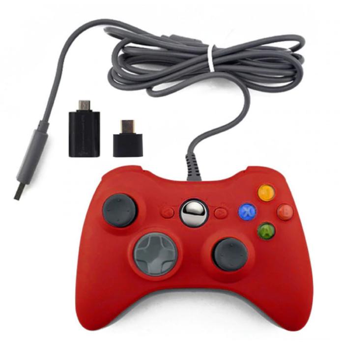 Manette de jeu pour Xbox 360 / PC - Gamepad avec Vibration Red