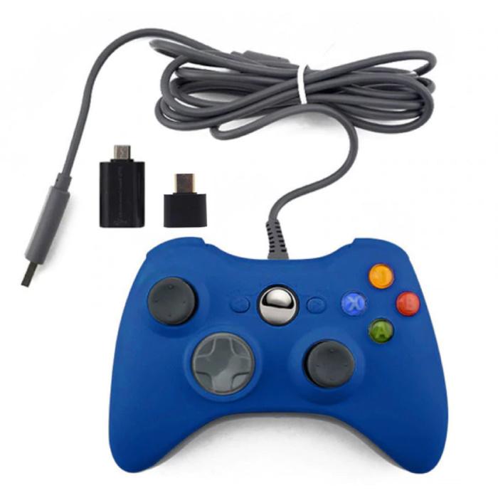 Gaming Controller voor Xbox 360 / PC - Gamepad met Vibratie Blauw