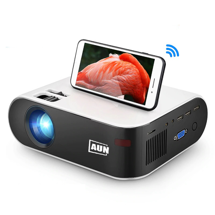 AUN W18C Mini LED Projector met Mira Cast - Mini Beamer Home Media Speler