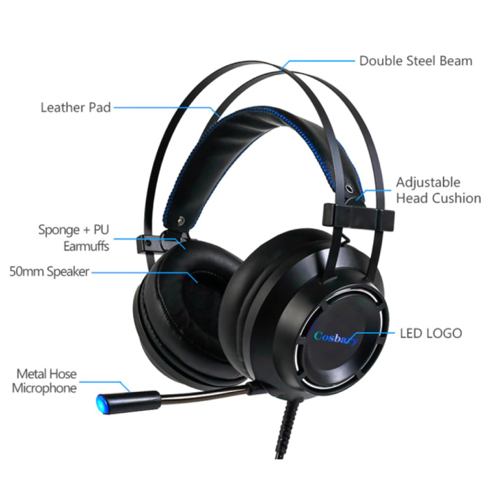 Cosbary Gaming Headset Stereo Koptelefoon 7.1 Surround Sound Headphones met Microfoon PlayStation 4 / PC