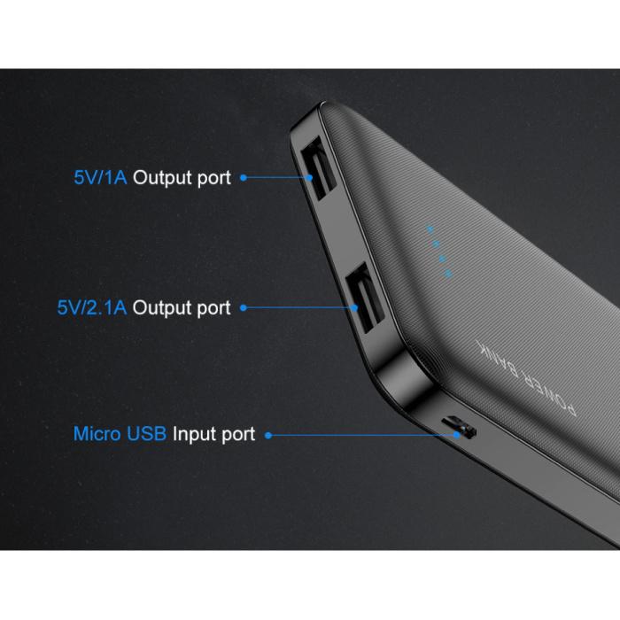 FLOVEME Batterie externe 10.000mAh Banque d'alimentation d'urgence Chargeur Chargeur Noir