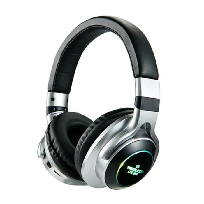 Draadloze Koptelefoon Bluetooth Wireless Headphones 3D Stereo Gaming Zilver