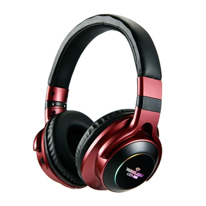 Draadloze Koptelefoon Bluetooth Wireless Headphones 3D Stereo Gaming Rood