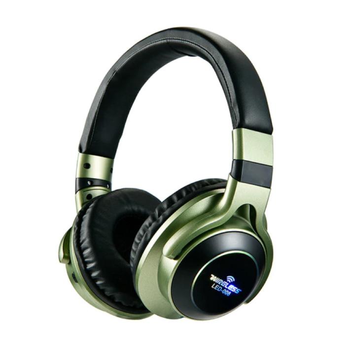 Draadloze Koptelefoon Bluetooth Wireless Headphones 3D Stereo Gaming Groen