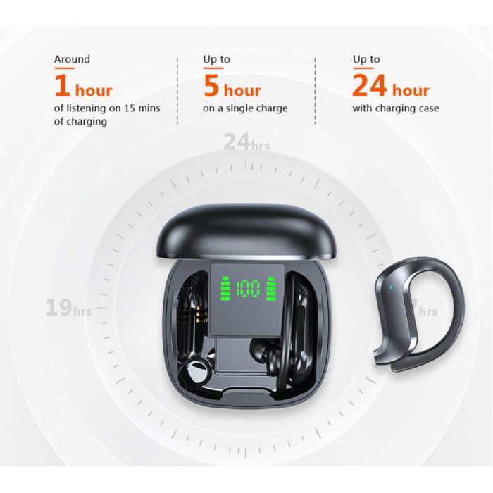 Stuff Certified® Wireless Earphones with Ear Hook - Touch Control - TWS Bluetooth 5.0 Wireless Buds Earphones Earbuds Earphone Black
