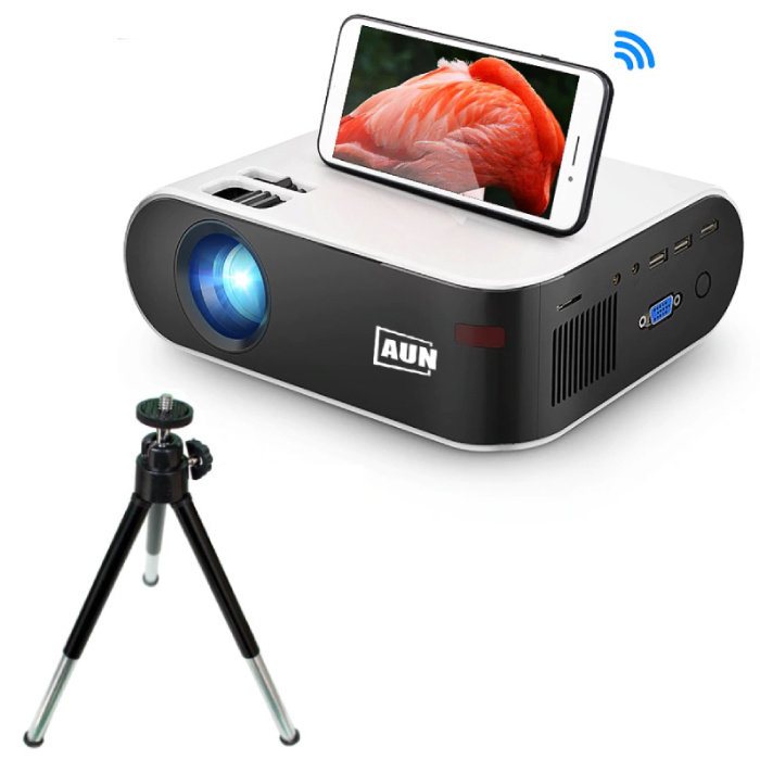 W18C Mini LED Projector with Mira Cast and Tripod - Mini Beamer Home Media Player