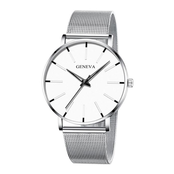 Quartz Horloge - Anoloog Luxe Uurwerk voor Mannen en Vrouwen  - Roestvrij staal - Zilver